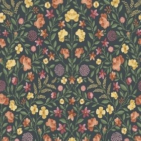 Cole & Son Court Embroidery Marigold-Tangerine-Red-Charcoal 118-13031