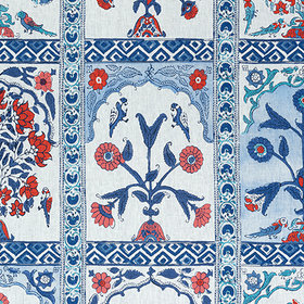 Thibaut Indian Panel Coral-Blue F910631