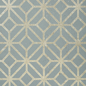 Thibaut Mamora Trellis Cork Spa Blue-Metallic Pewter T10414