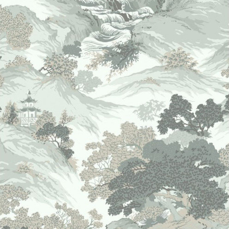 Crown oriental landscape eau de nil m1191 crown select for Very cheap wallpaper uk