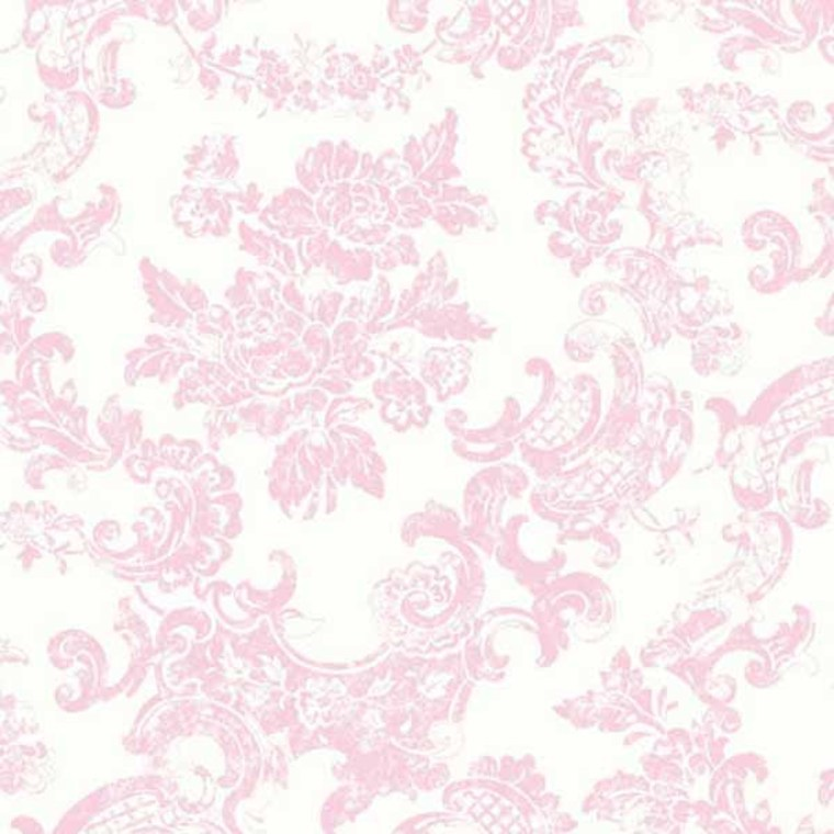 Crown Vintage Lace Damask Pink White M0756