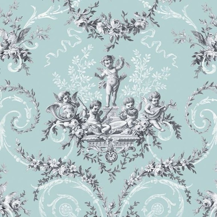 The vintage collection cherub toile duck egg hwp 12011 1 for Very cheap wallpaper uk