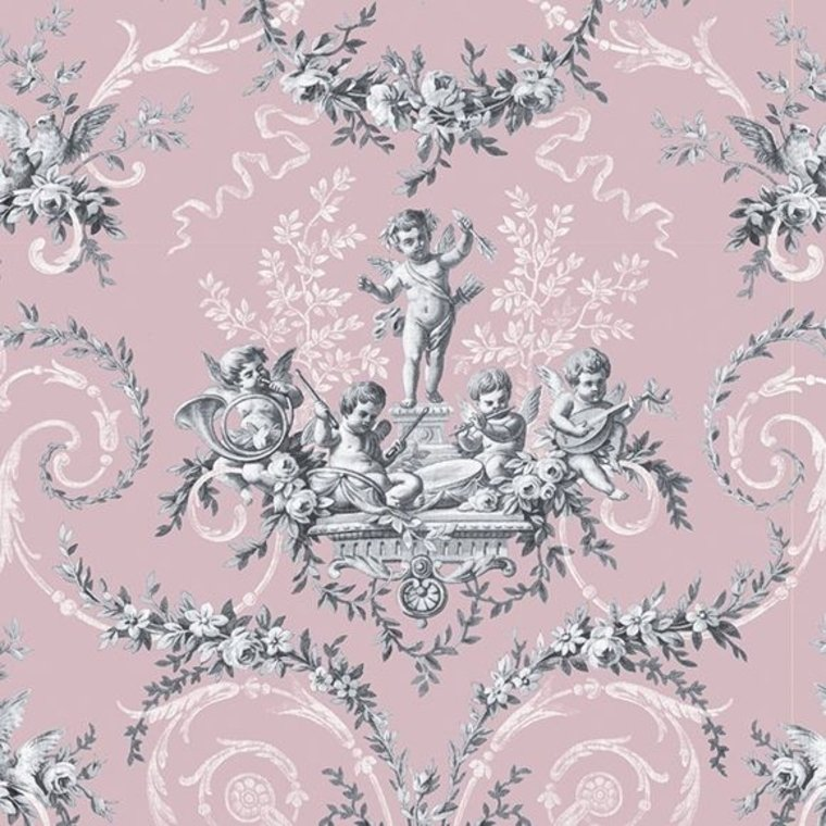 21 Best Toile Wall Paper Images On Pinterest: The Vintage Collection Cherub Toile Pink HWP-12011-2