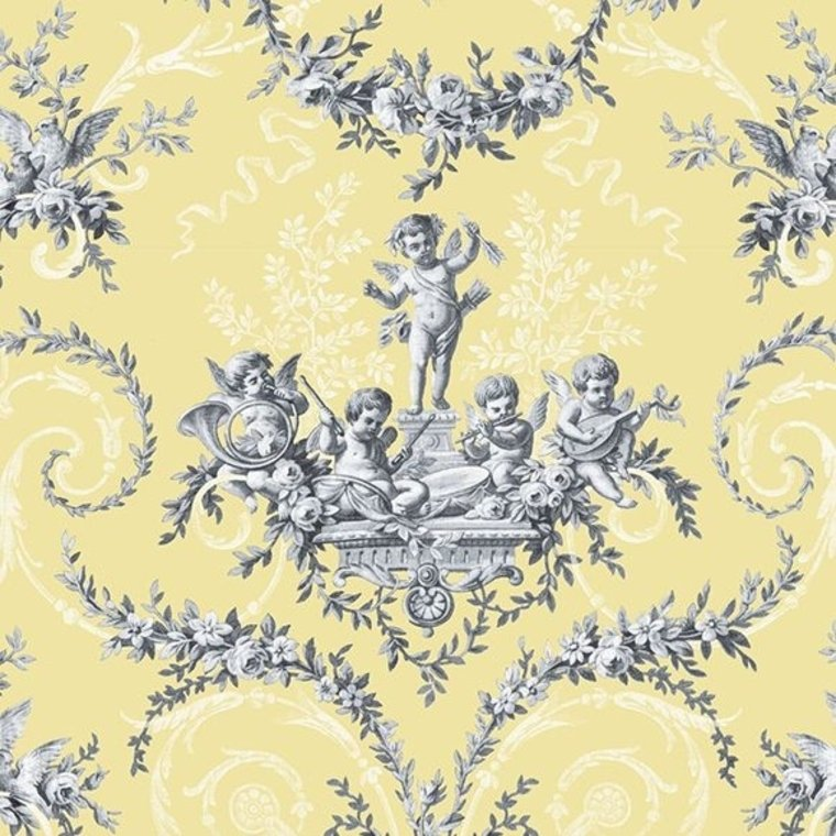 The vintage collection cherub toile yellow hwp 12011 5 for Very cheap wallpaper uk