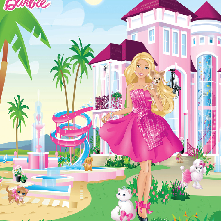 Barbie mural 42971 walltastic select wallpaper walltastic for Barbie princess giant wall mural