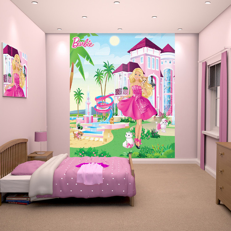 Barbie mural 42971 walltastic select wallpaper walltastic for Barbie wall mural